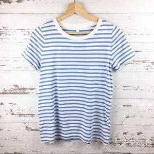 🐢 COS Blue White Striped Cotton Ringer Tee Shirt